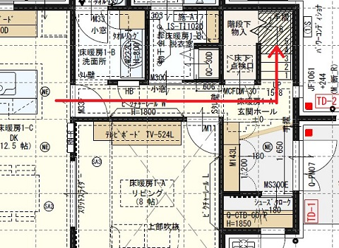 一条工務店i-smart廊下の平面図