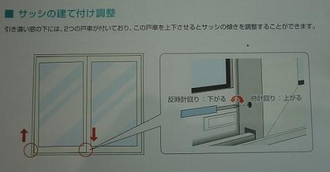 一条工務店i-smartメンテナンスマニュアルのサッシの傾きを調整するページの写真