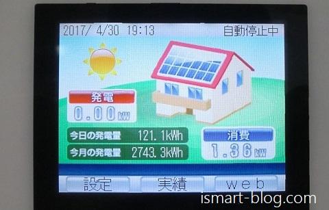 2017年4月の太陽光発電モニター