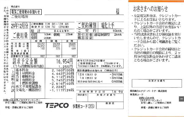 東京電力エナジーパートナーのオール電化向け電力プラン「電化上手」の電気使用量のお知らせ(検針票)