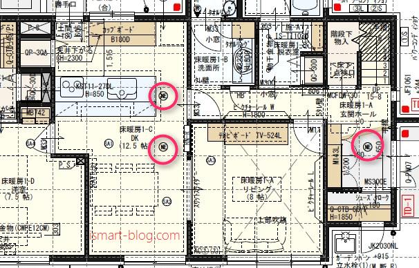 一条工務店i-smartの1F間取り図にPanasonic天井埋込型ナノイー発生器「エアイー」の設置場所をあらわしたもの