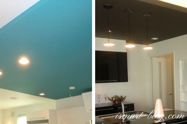 一条工務店伊勢崎展示場i-smartのキッチン上部の下がり天井と間接照明の様子