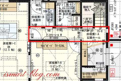 一条工務店i-smart、1階廊下とその周辺の平面図