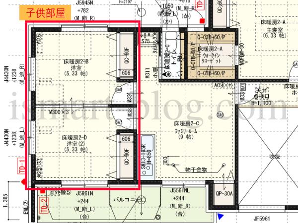 一条工務店i-smartの子供部屋の間取り図