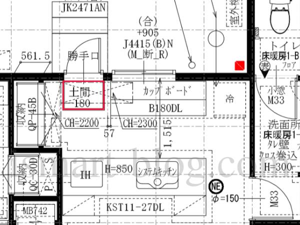一条工務店i-smartの勝手口内土間部分とキッチンの平面図