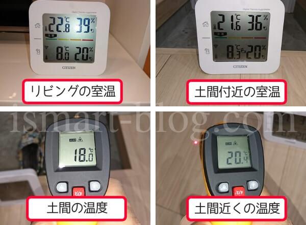一条工務店i-smartの勝手口内土間とその近くの室温と温度の違い