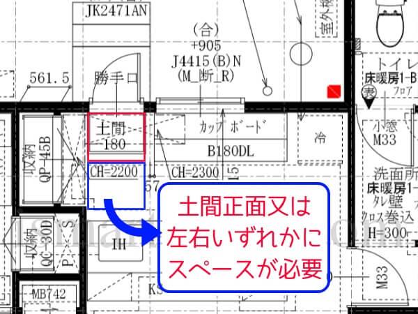 一条工務店i-smartの勝手口内土間の設置には2マスが必要となることを説明した平面図